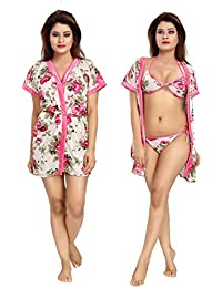 Shopping World women floral prited nighty with robe _free size _multicolor_ 3 pic set