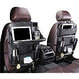 Car Backseat Organizer with Foldable Table Tray,Luxury PU Leather Storage with Foldable Dining Table Holder Pocket Storage Kick Mats Auto Seat Shelf