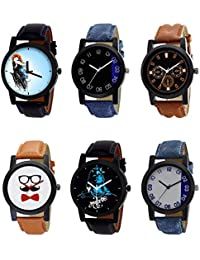 NIKOLA Classical 3D Design Mahadev Beard Style Black Blue And Brown Color 6 Watch Combo (B22-B37-B30-B53-B23-B40...