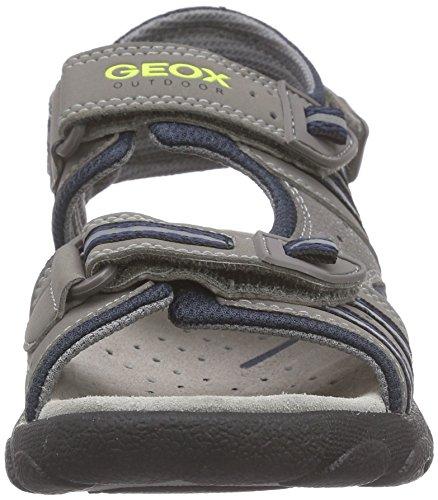 Geox Strada A, Sandales Bout Ouvert Garçon Gris (C0665)