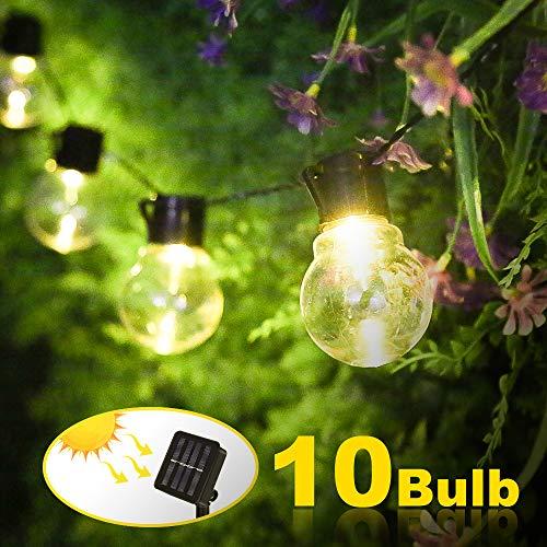 Nasharia Solar Lichterkette Außen, Weihnachten Glühbirnen Lichterkette 10LED G40 Birnen Lichterkette Wasserdicht Solar Beleuchtung Aussen für Garten, Hof, Balkon, Hochzeit, Fest Deko -