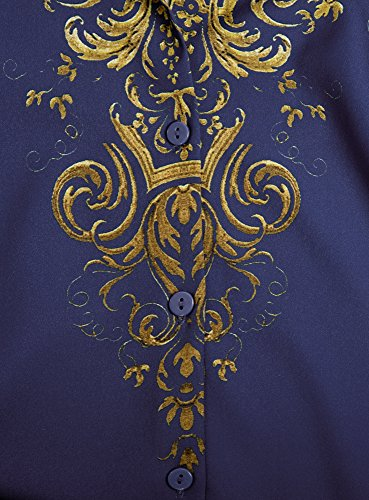 oodji Collection Damen Gerade Druckbluse Blau (7594E)