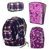 satch Pack Berry Carry 4-teiliges Set Rucksack, Schlamperbox, Triple Flex & Regenhaube lila