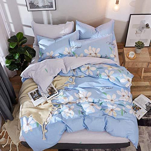 CPDZ Bettlaken und Kissenbezug Bettbezug Königin Männer und Frauen Schlafzimmer Dekor Bettwäsche Emporium 100% Baumwolle Blatt Set 4 stücke,Blue,L (Bettwäsche-daunendecke-abdeckung)