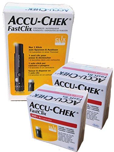 Accu-Chek FastClix Kit Pungidito 1 Caricatore Con 6 Lancette + Accu-Chek Linea Controllo Glicemia FastClix 2 x 204 Lancette Pungidito