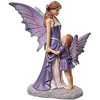 PUCKATOR Figura de resina de hadas, madre e hija, diseño Lisa Parker de Avalon de 15 x 13 x 21cm, fyp102, color morado/beige/rojo