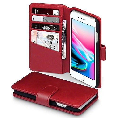 iPhone 8 / iPhone 7 Hülle, Terrapin [ECHT LEDER] Brieftasche Case Hülle mit Kartenfächer und Bargeld für iPhone 8 / iPhone 7 Tasche - Rot (7 Leder Tasche)
