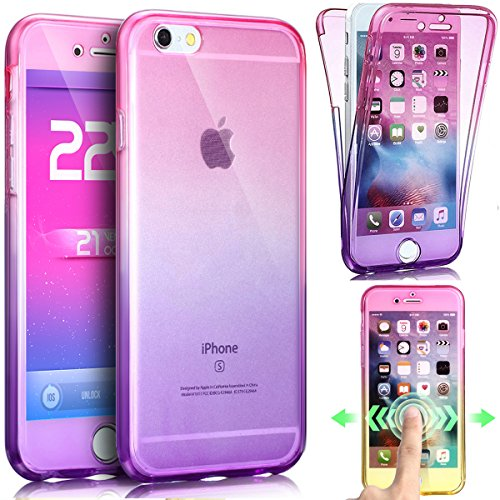 iPhone 5S Hülle,iPhone SE Hülle,iPhone 5 Hülle,ikasus iPhone SE 5S 5 TPU Hülle [Full-Body 360 Coverage Protective],Gradient Color Farbverlauf TPU Silikon Hülle Schutz Handy Hülle Case Tasche Etui Bump Rosa Lila
