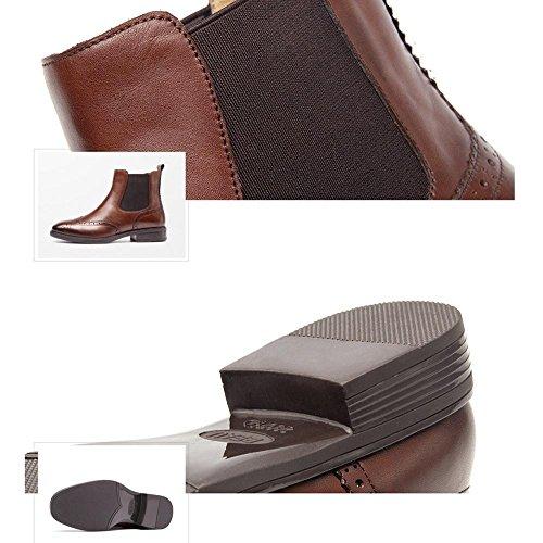 donne Chunky Heel piatta in pelle sintetica foderato caldo casual comfort Harness stivaletti, 35 BROWN-35
