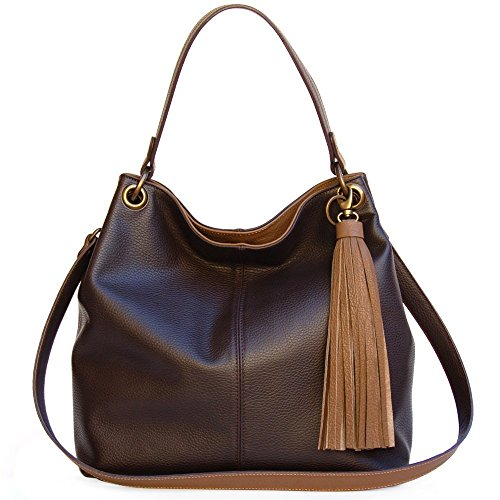 Borsa Marrone Hobo donna Qualità Italiana nelle borse in vera pelle Ganza by Amazon