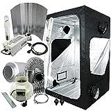 Cultivalley Growbox Komplett-Set 120x120x200cm, 600W NDL MH Wuchs & HPS Blüte Bausatz Plug & Play, 360m³ Premium Klimaset mit AKF
