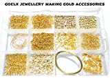 #7: Goelx DIY Findings gold jewellery making accessories kit- all basic gold jewellery materials with free storage box