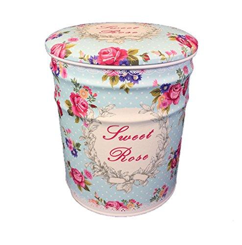 DiiliHiiri Puff Asiento Vintage Retro Cajas de almacenaje con Asiento tapizado de Metal Decoración Flores Vintage Mediano - Talla M