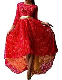 LaoZan Mujeres Vestido de Fiesta Largos de Noche Cuello Rotundo de Encaje de Manga Larga Asimétrica Rojo XXX-Large