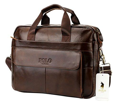 VIDENG POLO Sacoche en cuir,14 pouces Sac pour ordinateur portable pour homme Épaule Entreprise Sacs de travail (Marron foncé-p)