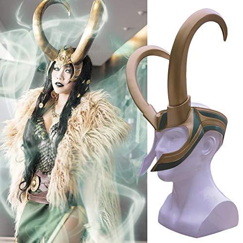 Todaytop Máscara de Cosplay para Loki PVC Golden Horn Mitad Casco Halloween máscara para Adulto Cosplayer