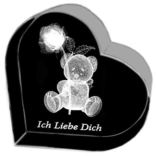Kaltner Präsente Geschenkidee – Herz aus Glas: Kristallglas mit 3D-Laser-Gravur Teddy Rose ICH LIEBE DICH Gläser Frauen