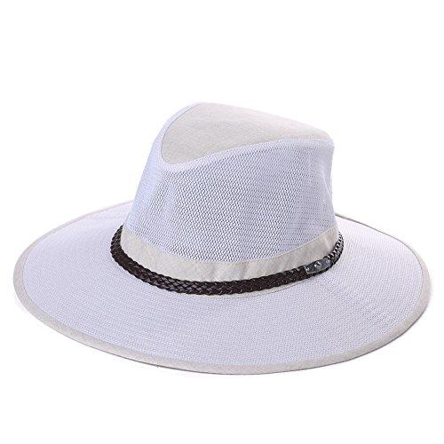 SiggiHat Herren Faltbarer Safari Hut Australian Adventure breite Krempe Cowboyhut BeigeWeiß M