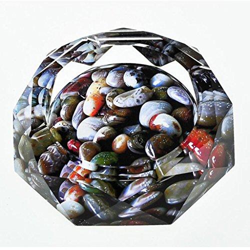 Aschenbecher 3D Fisch Tank Stein Farbe Druck Stil Kristall Glas Mode kreative Persönlichkeit Geschenke Wohnzimmer mit Rauch Rollsnownow (Size : 20 * 20 * 4cm) -