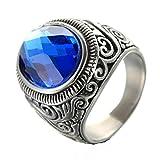 Adisaer Silberring Herren Ring Weißgold Diamant Schwarz Silber Bar Punk Runde Stein Ringgröße 65 (20.7) Blau Zirkonia Gothic Retro Vintage Hochzeit Ring Für Herrn
