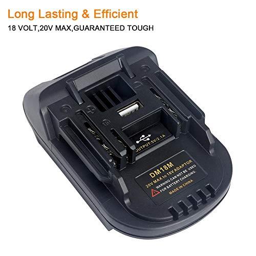 Gereton Neuer 18V Batterie-Adapter DM18M umgewandelt in Li-Ion Ladegerät Werkzeug Konverter für MAKITA Batterien DM18M Batterie-Adapter mit USB-Ladeanschluss - Volt 20 Dewalt Usb