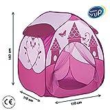 LUDI - Tente pop-up rose 'Princesse' 110 x 110 x 140 cm. Dès 2 ans. Décor pour jouer au prince et à la princesse. Se plie et se range dans un sac. Tissu résistant - 60004