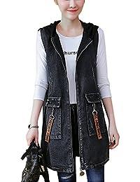 4560efd59de QitunC Women s Printing Sleeveless Hooded Ripped Jean Jacket Waistcoat  Loose Long Denim Vest Outwear