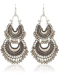 Lava Kraft Afghani Chandbali Colorful Ethnic Minakari Hook Dangle And Drop Earrings For Women (LK 72)