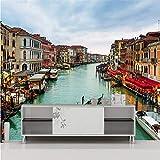 Guyuell Individuelle Fototapeten Spektakuläre Venezianische Hafenlandschaft Balkon Hotel Lobby Hintergrund Wand Tapete Benutzerdefinierte Wandbilder-120Cmx100Cm