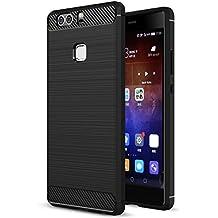 Cover Huawei P9 Plus, Landee La fibra di carbonio Morbida di Silicone Case Cover Custodia per Huawei P9 Plus / P9+ (Nero)