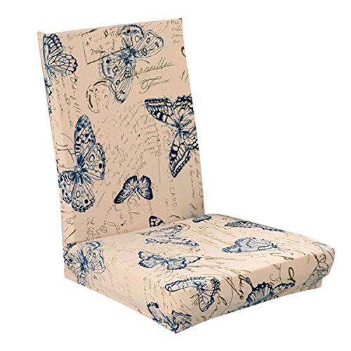 Pixnor Housse de chaise stretch amovible lavable courte Housse de protection pour chaise de salle à manger Assise Slipcover Papillon