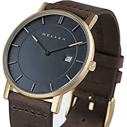Meller Unisex Balk Earth Minimalist Watch with Grey Analogue Display and Leather Strap