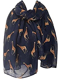 Purple Possum Giraffe Scarf, Navy Blue Brown Giraffes, Ladies Animal Print Wrap