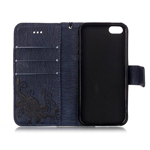 iPhone SE iPhone 5 iPhone 5S Hülle,iPhone SE 5 5S Case,Cozy Hut Campanula-Blumen Design Muster Prägemuster Design Folio Cover Wallet im Bookstyle mit Standfunktion Karteneinschub und Magnetverschluß E marineblau Schmetterling Blume