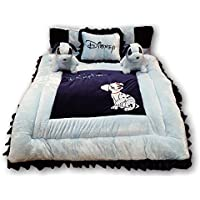 PINKS & BLUES New Born Baby Full Sleeping Bedding Set with 2 Side Pillows in Shape of Puppies, 0 - 30 Months (Sky Navy)