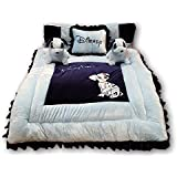Pinks & Blues New Born Baby Full Sleeping Bedding Set With 2 Side Pillows In A Shape Of Puppies.. (SKY-NAVY BLUE) 0 - 30 Months