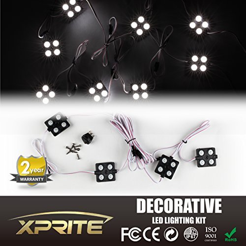 Xprite New Version White 8pc 32 LED Rock Light High Intensity LED Car Underglow Underbody System Decorative Lighting Kit w/ Switch
