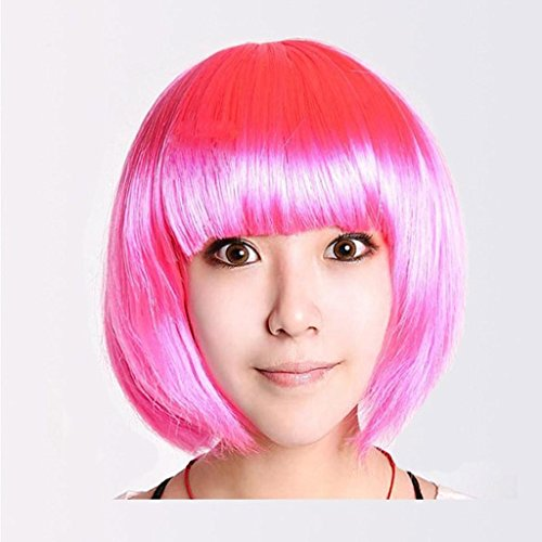 MFFACAI Damen Girl's Cosplay Kurz Synthetische BOB Haar Perücken Halloween Party mit Fransen Fancy Dress (eine Größe), Peach red