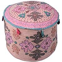 Coperchio ottomano Bohemian Brown Vintage rotonda floreale Patchwork poggiapiedi copertura indiana di cotone Pouf coperchio (Sedia Da Giardino Ottomano)