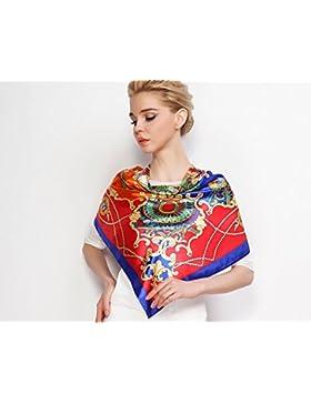 Bufandas MUJER Hiyab Rosa grande rojo de satén de seda Plaza Bufanda ,Rojo con azul