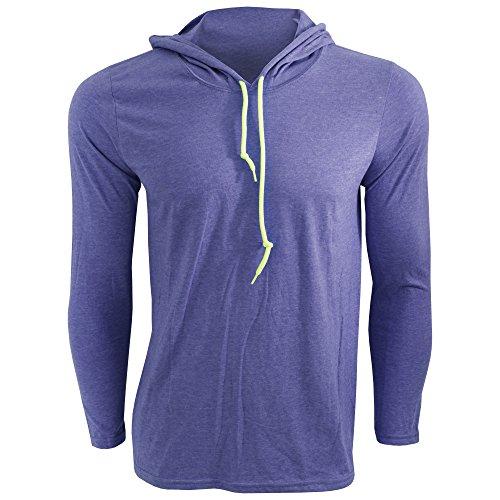 7 Kapuzen-langarm-t-shirt (Anvil Herren Fashion Longsleeve / T-Shirt mit Kapuze, Langarm (Large) (Blau meliert/Neongelb))