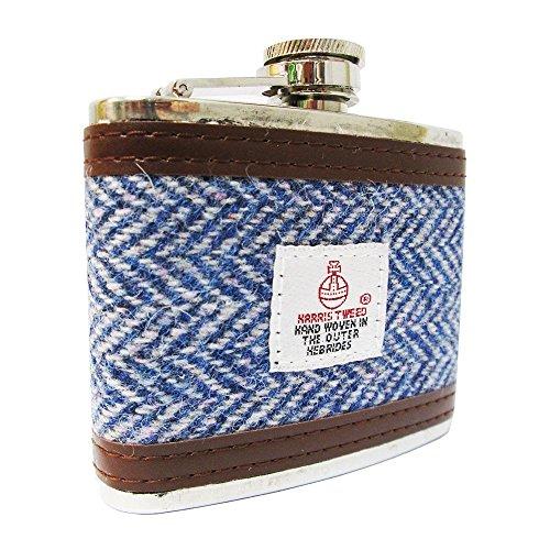 Harris Tweed Herren Flachmann, Fischgrätenmuster, 118 ml, Hellblau