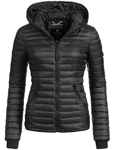 Navahoo Damen Jacke Übergangsjacke Steppjacke Kimuk (vegan hergestellt) Schwarz Gr. M