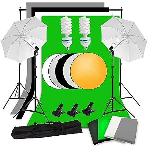 Abeststudio Estudio de fotografía iluminación continua Kit 2x135W Lámpara, 4x 1.6 * 3m Contextos (Negro Blanco Verde Gris), 2x 2x luces, de paraguas, 2 * 3m de fondo de apoyo del soporte + 60cm 5 en 1 panel reflector