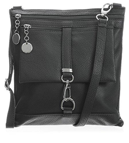 Big Handbag Shop Borsa a tracolla Messenger tipo cross-over in autentico Pelle Italiana 24x26x3 cm (LxAxP) Dark Grey (ST165)