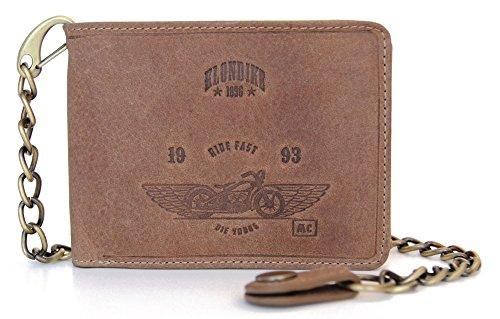 """Klondike 1896 Geldbörse mit Kette aus echtem Leder """"Harry Bike"""" hochwertiges Echtleder Portemonnaie für Herren, braun (Geldbörse Echt Leder-kette)"""