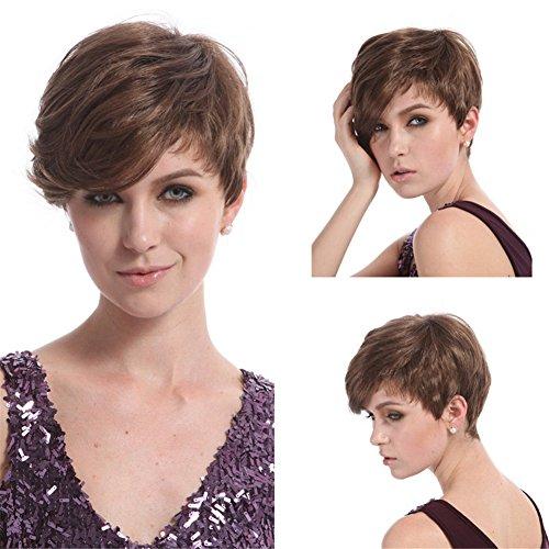 Kostüm Für Braune Haut - FAWIGS Kurzhaarperücke, kurz, Pixie Cut, braunes Haar, synthetische Perücken für Damen, mit Bangs, hitzebeständig, natürliches Haar, modisch, 9 Zoll, 100 g