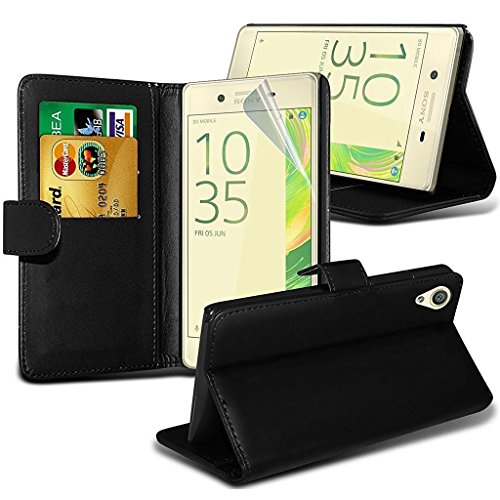 black-sony-xperia-xz-premium-case-wallet-case-cover-with-card-holder-and-lcd-screen-protector-foneti