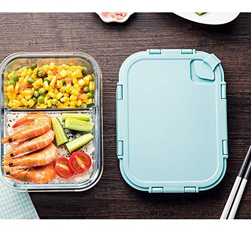 Auslaufsichere Lunchbox, rechteckig, mit Fächern, für Mikrowelle und Gefrierschrank Modern Größe Blue640ml -