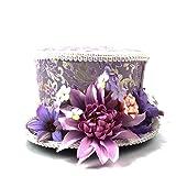 Hut im Freien Kentucky Derby Mini Top Hut, lila und Creme Blume Mini Hut, Alice im Wunderland, Mad Hatter Hut, Tea Party Hochzeit, Tea Party Hut Verschiedene Stile ( Farbe : Lila , Größe : 25-30cm )